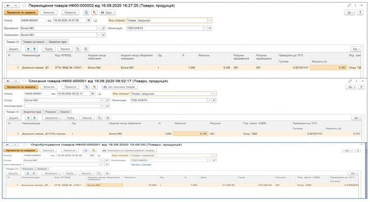 BAS. Модуль обліку акцизного палива - учет топлива на предприятии/Облік палива на підприємстві, списання палива проводки / списание топлива